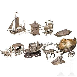 Convolute of silver miniatures, transport and motion,