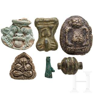 Five amulet pendants and one bronze bead, ancient