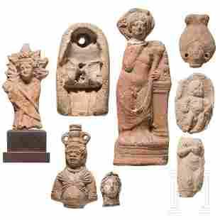 Eight Egyptian terracotta figures, pharaonic age to