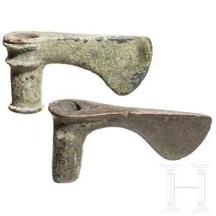 Two early Western Iranian bronze axes, Luristan, 2500 -