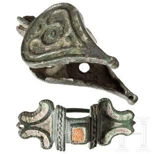 A Roman fibula, 2nd - 3rd century