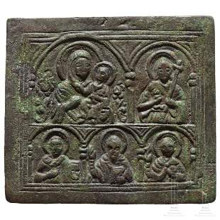 Small bronze panel, late Byzantine, 11th - 14th century
