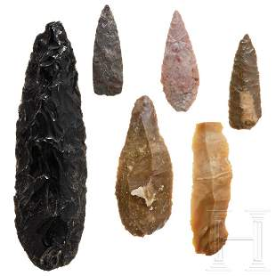 Six Central European stone tools, Palaeolithic to