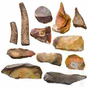 Twelve Central European Stone Age tools