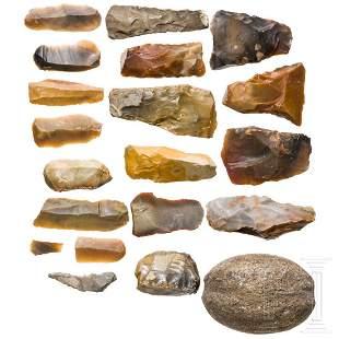 Twenty Central European Stone Age tools