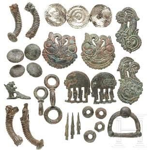 A set of Scythian horse fittings, bronze, 6th - 5th