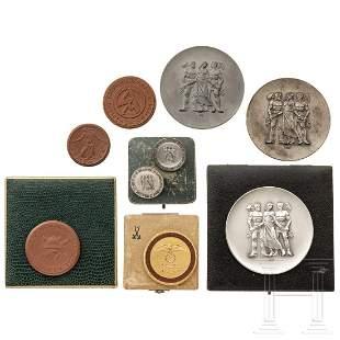Porcelain manufacture Meissen - four German medals,