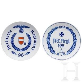 Two Meissen regimental plates of the Artillery Regiment