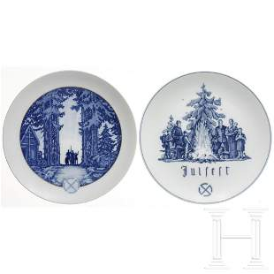 Two plates for the Julfest, made by the Meissen