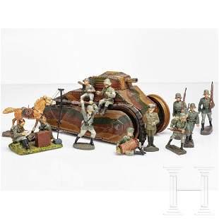 A Märklin tin tank and Elastolin toy soldiers with