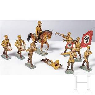 Nine Lineol SA figures with trumpet and musicians