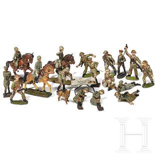 A collection of 19 Elastolin, Lineol and NVA figures