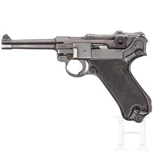 """A Luger pistol by Mauser, coded """"42 - byf"""", M/942, with"""