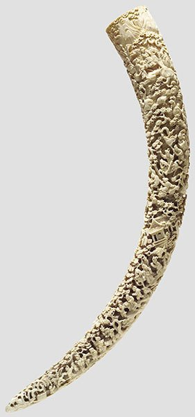 119: A carved ivory tusk