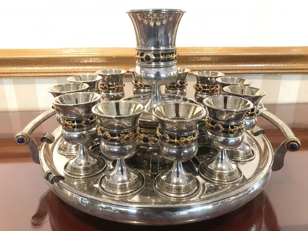 Yossi Swed Israel Sterling 14 Piece Kiddish Set