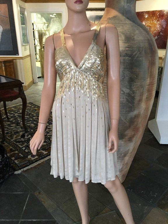 Roberto Cavalli Gold Sequence Cocktail Dress
