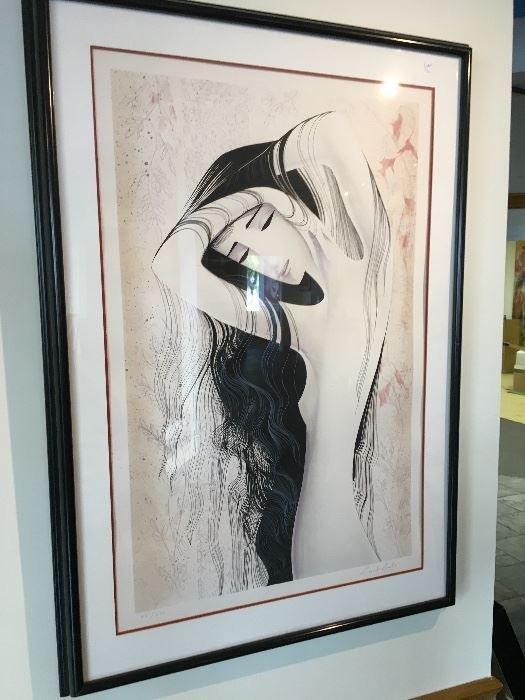 Signed Eyvind Earle Woman Black Hair Art