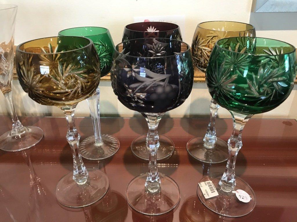 Bohemian Crystal Cut Multicolored Wine Glasses