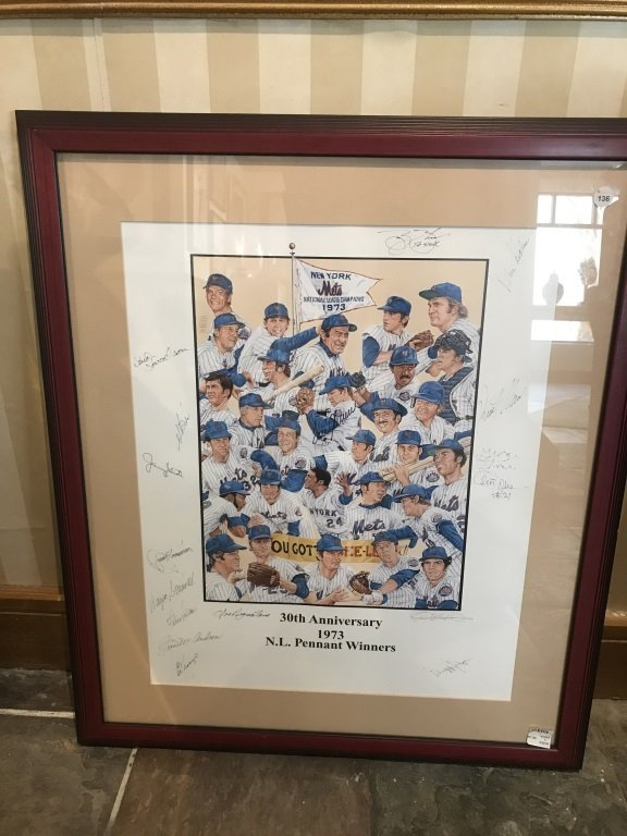 30th Anniversary Signed 1973 NY Mets Poster