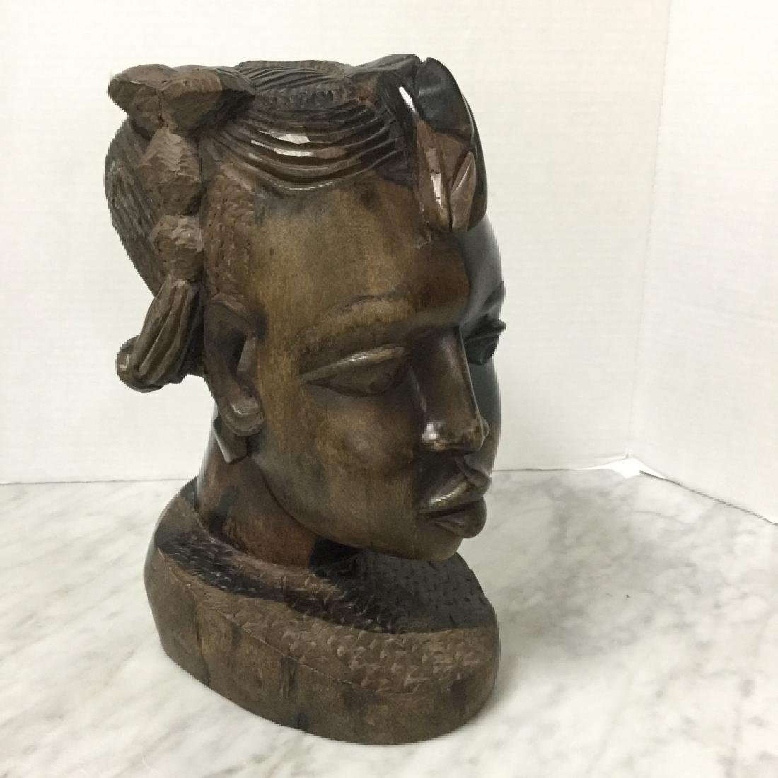 Primitive Ebony Hand Carved African Bust