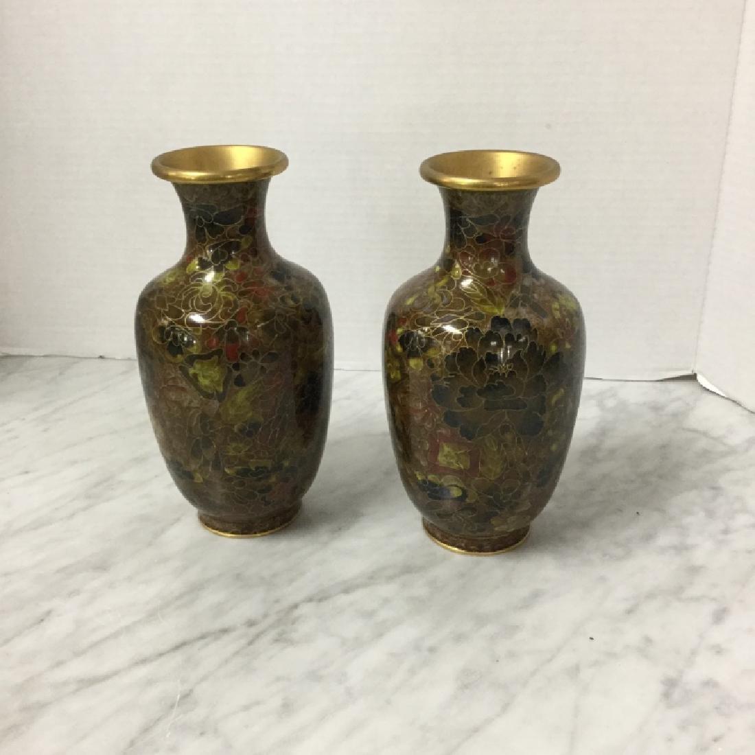 Lovely Pair of Vintage Cloisenne Vases