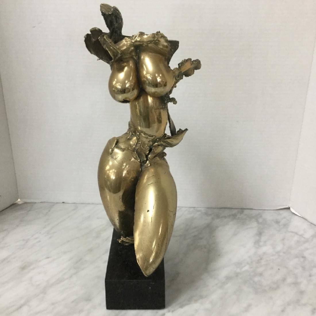 Brass Nude Sculpture, Signed PG 1980
