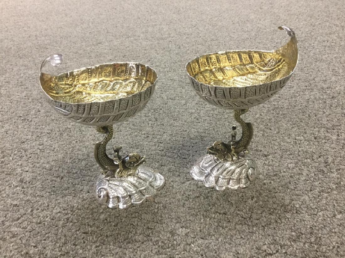 Pair of Sterling Monkey Riding a Dolphin Cups