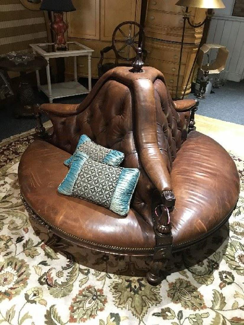 Gorgeous Maitland Smith Tufted Leather Settee