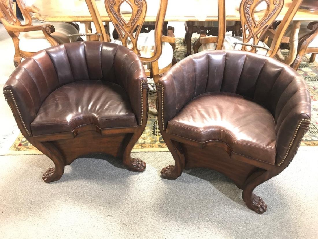 Pair Hollywood Regency Maitland Smith Barrel Chair