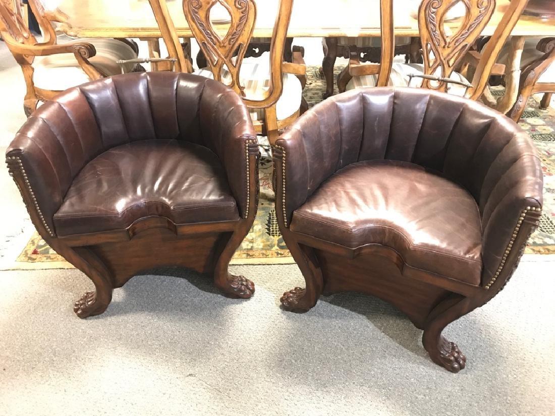 Pair Hollywood Regency Maitland Smith Barrel Chair