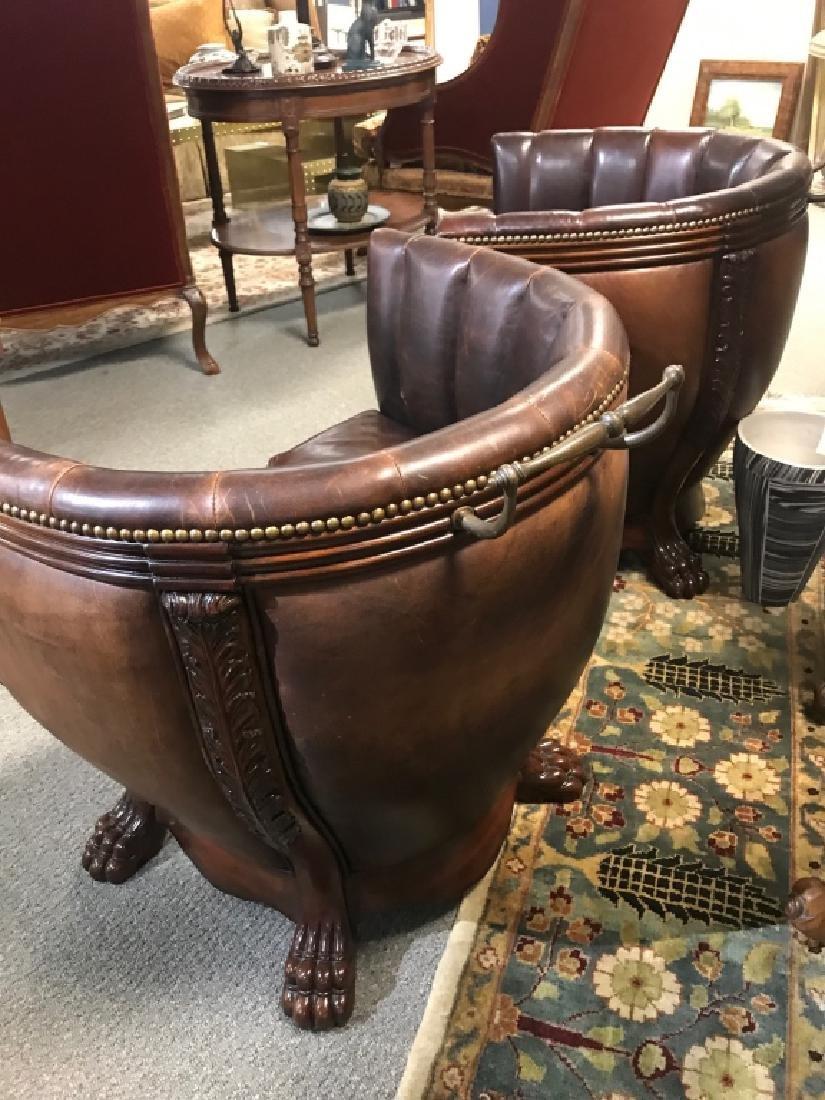 Pair Hollywood Regency Maitland Smith Barrel Chair - 3