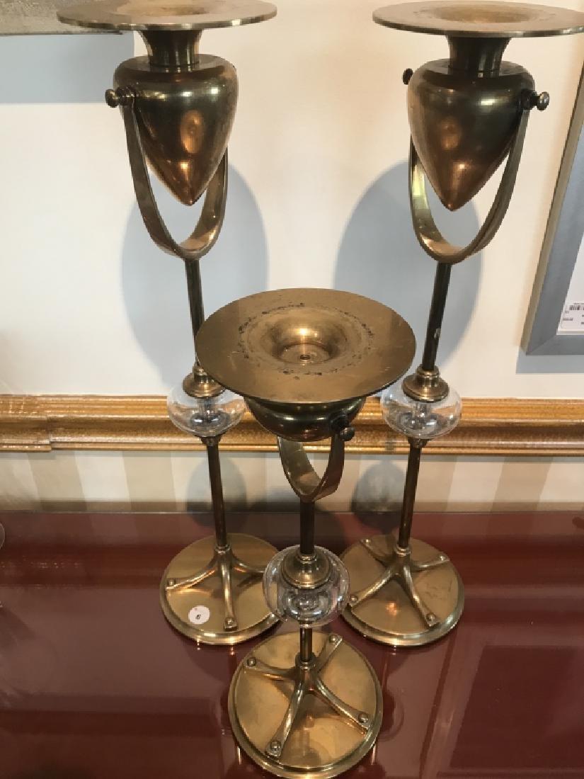 Set of 3 Chapman Brass and Glass Candlesticks 1989