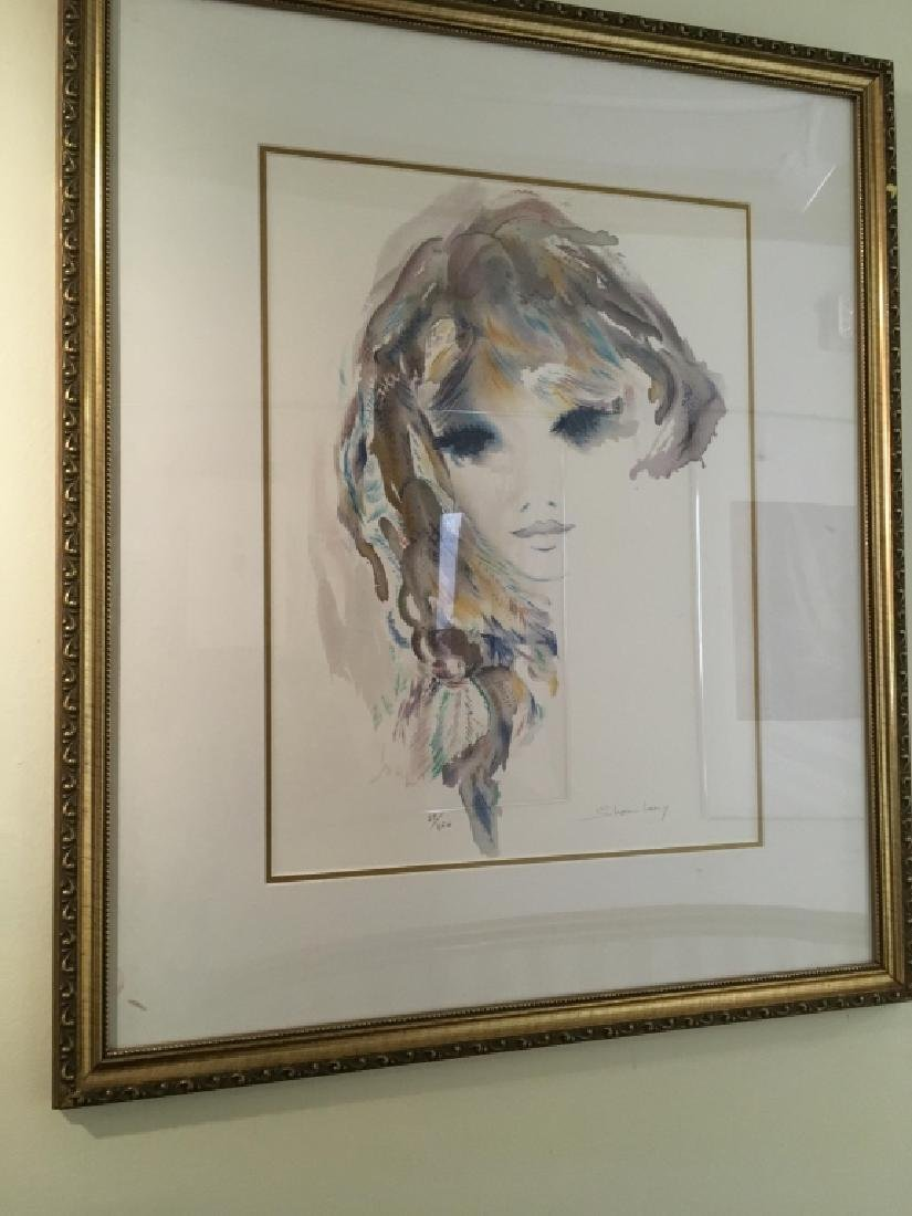 Sheri Levy Signed Print of a Woman in Purple