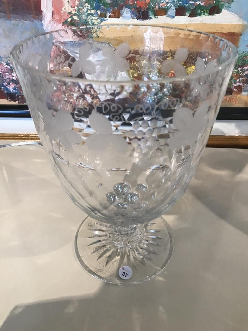 Gorgeous Large Tifanny Crystal Signed Footed Bowl