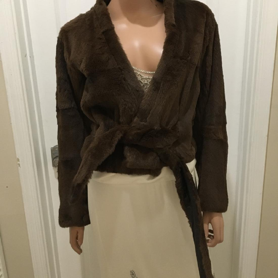 Dries Van Noten Faux Mink Wrap-Around Jacket