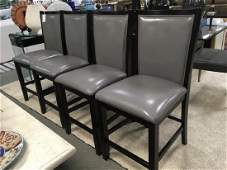 Set of 4 Gray Leather Counter Height Chairs