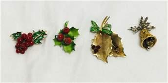 4 VINTAGE CHRISTMAS DESIGNER COSTUME BROOCHS/PINS