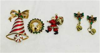 4 VINTAGE CHRISTMAS DESIGNER COSTUME JEWELRY