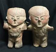 PAIR OF PRE COLUMBIAN CHANCAY FIGURES POTTERY