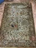 PERSIAN TABIZ SILK HUNTING RUG FIGURAL 45 X 7