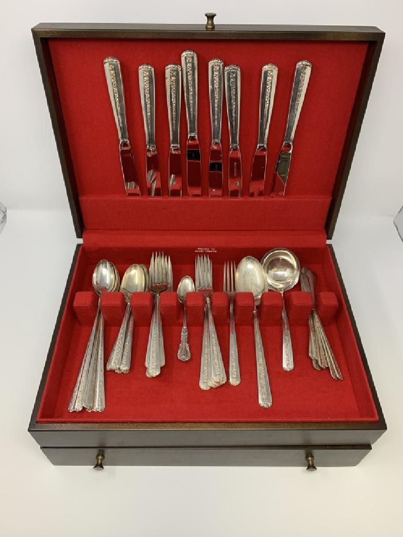 51 PC TOWLE RAMBLING ROSE STERLING SILVER SERVICE