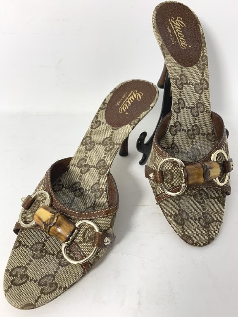 GUCCI LOGO BROWN AND BEIGE MULES SLINGS SANDALS