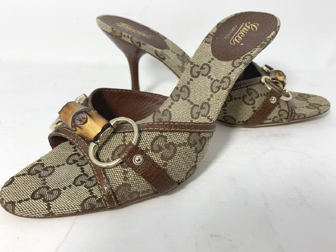 GUCCI LOGO BROWN AND BEIGE MULES SLINGS SANDALS - 2