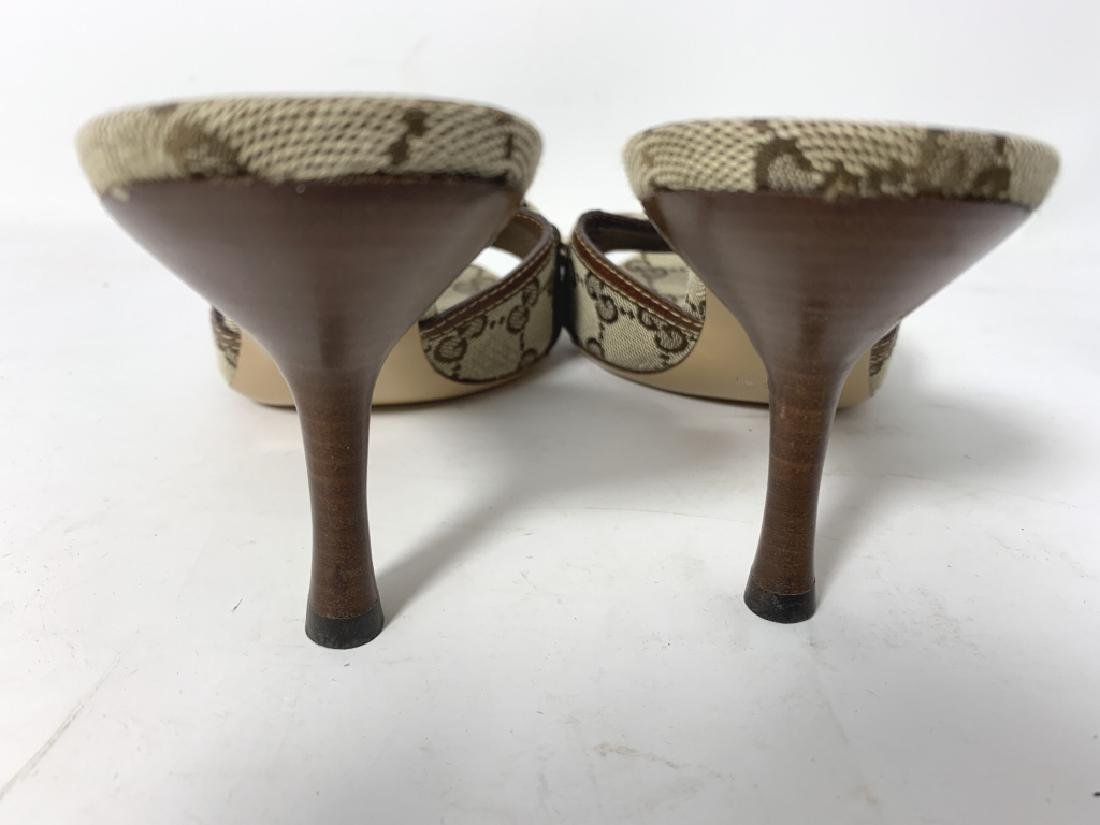 GUCCI LOGO BROWN AND BEIGE MULES SLINGS SANDALS - 3