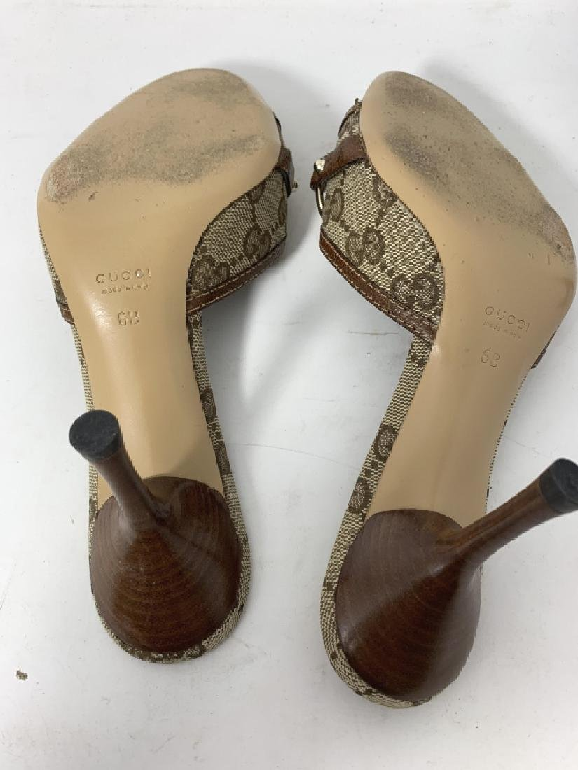 GUCCI LOGO BROWN AND BEIGE MULES SLINGS SANDALS - 4