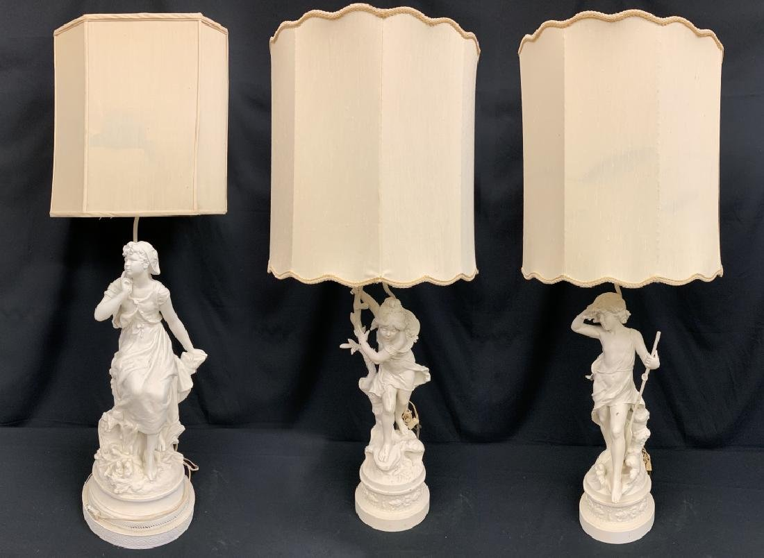 LOT OF 3 ANTIQUE WHITE METAL STATUES