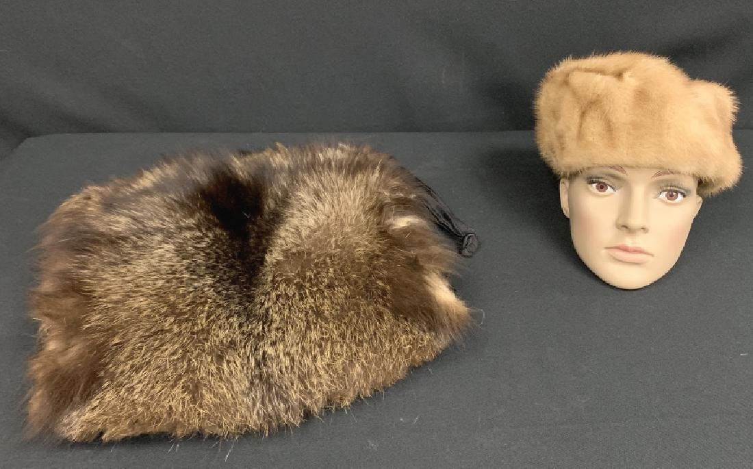 LOT OF BROWN MINK HAT & DARK BROWN MINK PURSE
