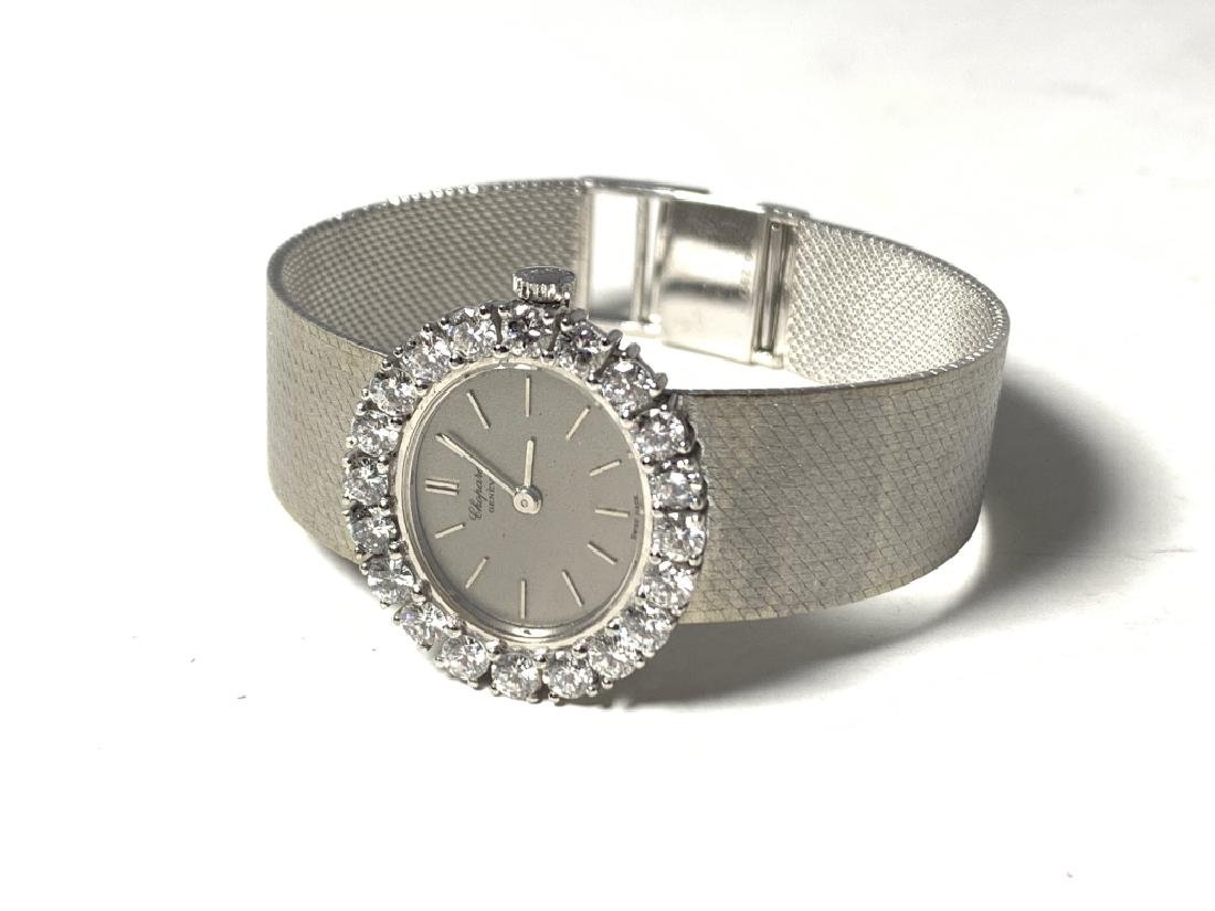 CHOPARD 18KT WHITE GOLD SILVER DIAL DIAMOND WATCH