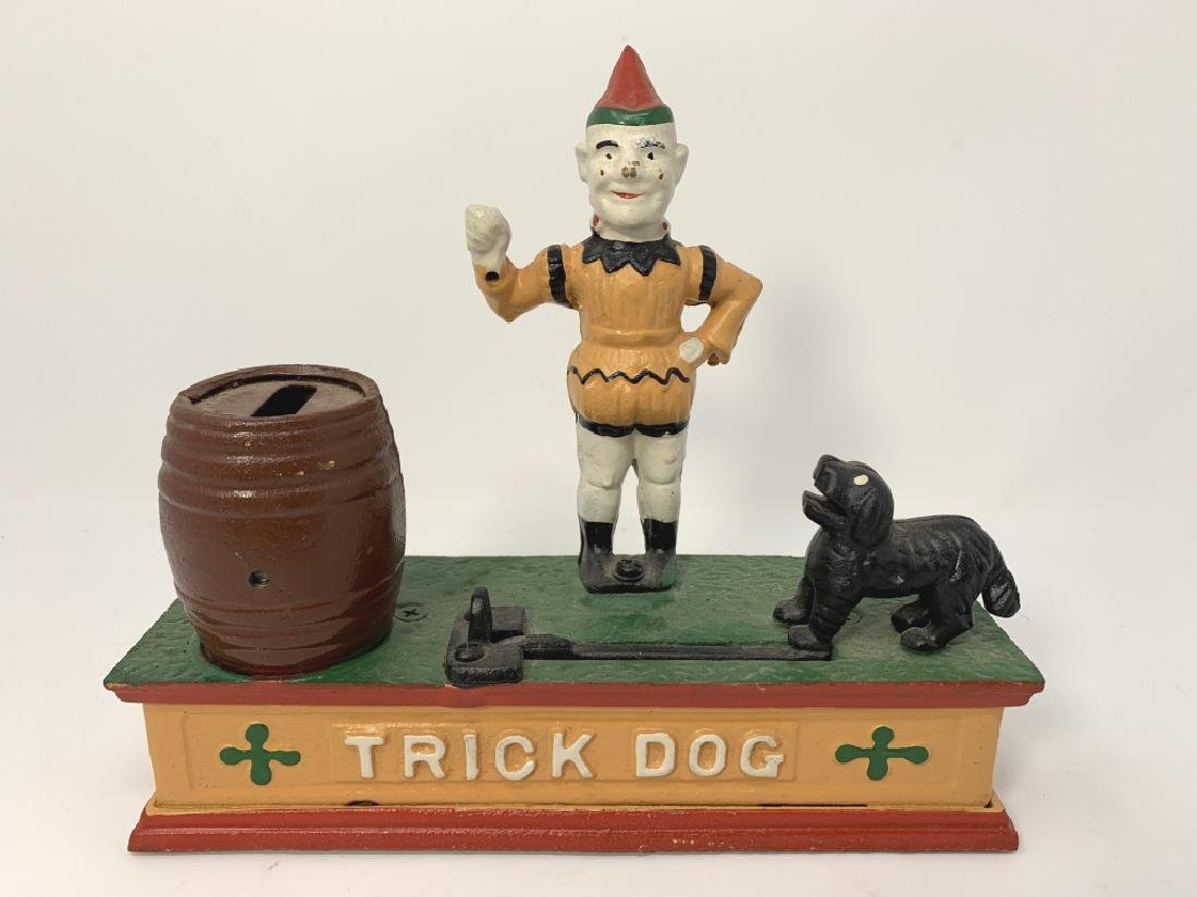 CAST IRON REPRODUCTION TRICK DOG BANK