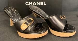 CHANEL BLACK 3 HEEL SIZE 36
